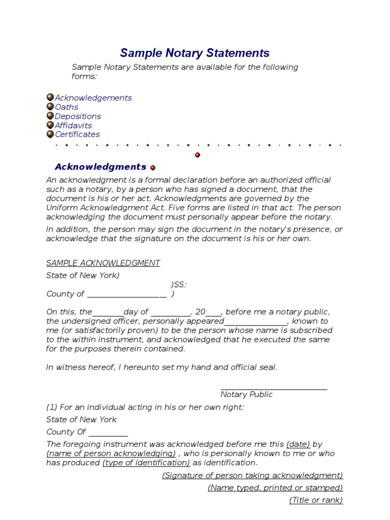 sample notary statements