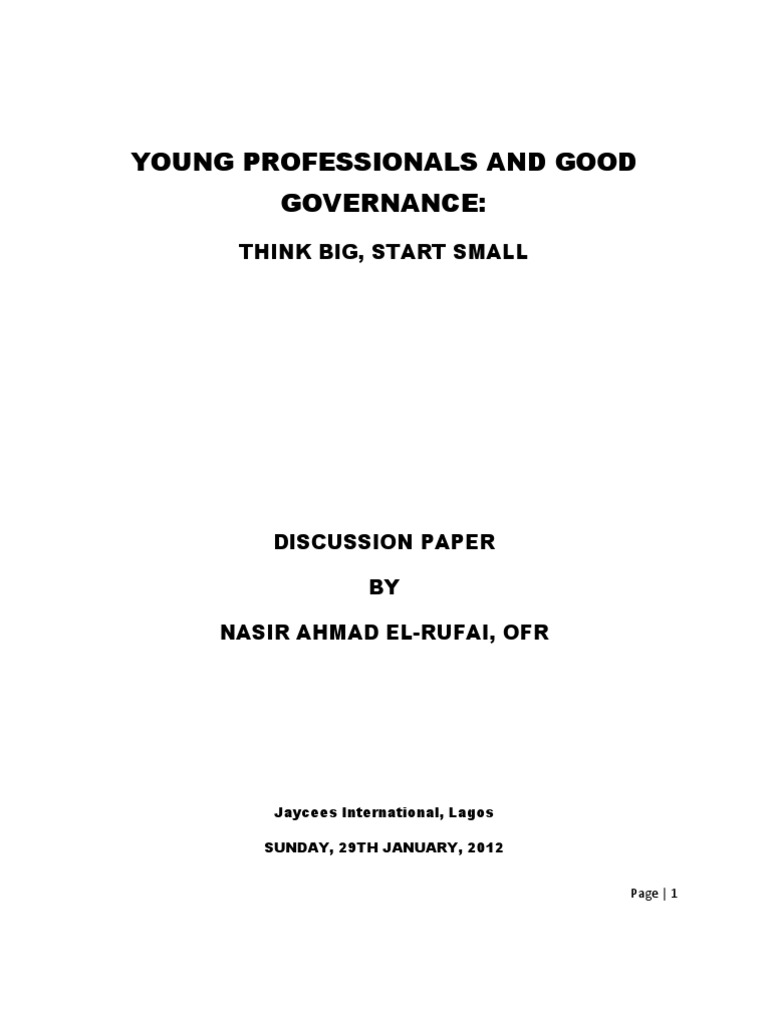 Young Professionals and Good Governance: A Discussion