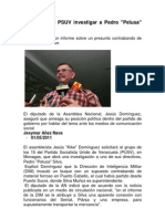 Solicitarán al PSUV investigar a Pedro