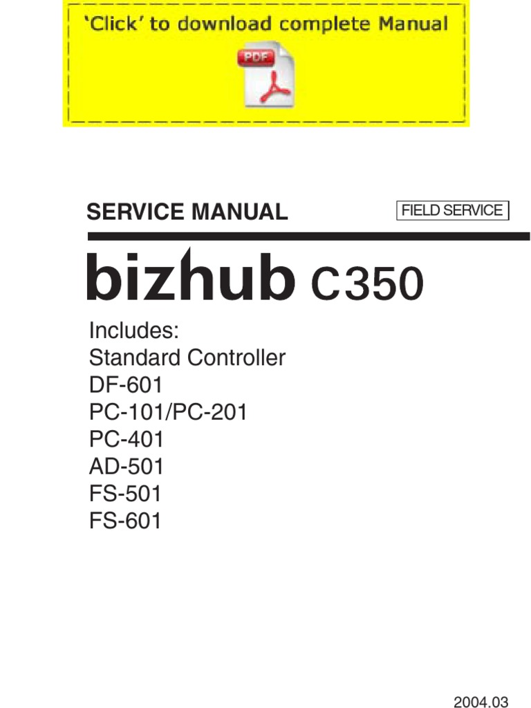 KONICAMINOLTA Bizhub C350 Service Manual Pages | Image Scanner | Electrical  Engineering