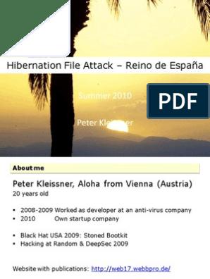 Hibernation File Attack Presentation   Bios   Microsoft Windows