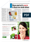 TheSun 2008-11-14 Page17 Obama Urged Not to Cave-In to Russia Over Missile Defence