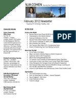 Supervisor Cohen - February 2012 Newsletter