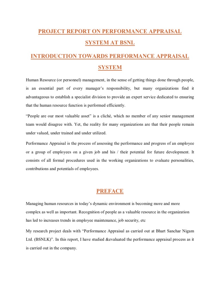 project report on performance appraisal system at bsnl project report on performance appraisal system at bsnl performance appraisal human resource management