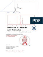 Práctica No. 2 Síntesis del ácido beta-resorcílico