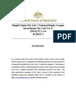Singtel Optus v National Rugby League (No 2) - Summary - 1.2.12