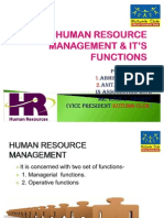 HUMAN RESOURCE MANAGEMENT & IT'S FUNCTIONS