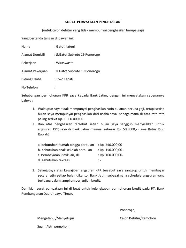 Surat Pernyataan Penghasilan Untuk Calon Debitur Yang Tidak Mempunyai Penghasilan Berupa Gaji