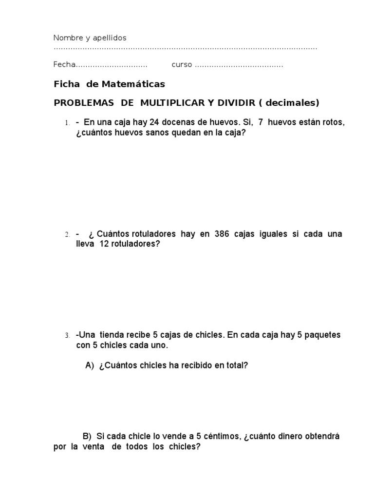 Matematicas.- Problemas con números decimales