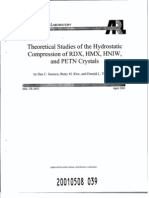 Dan Sorescu, Betsy M. Rice and Donald L. Thompson- Theoretical Studies of the Hydrostatic Compression of RDX, HMX, HNIW, and PETN Crystals