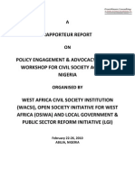 Policy Advocacy and Engagement Training Narrative Report - Abuja Nigeria 2 (Feb 2010)