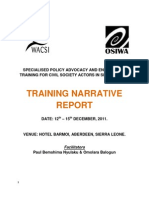 Policy Advocacy and Engagement Training Narrative Report - Freetown, Sierra Leone (December 12 - 15, 2011)