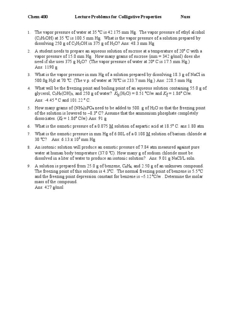 worksheet. Colligative Properties Worksheet. Grass Fedjp Worksheet ...