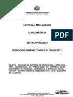 EDITAL CONCORRENCIA Nº.002-2012-SEL.EMP.ENG.CONSTR.DO EDIFICIO SEDE DA EMPAER-CPA-MUNICIPIO DE CUIABA-MT. - Parte 1