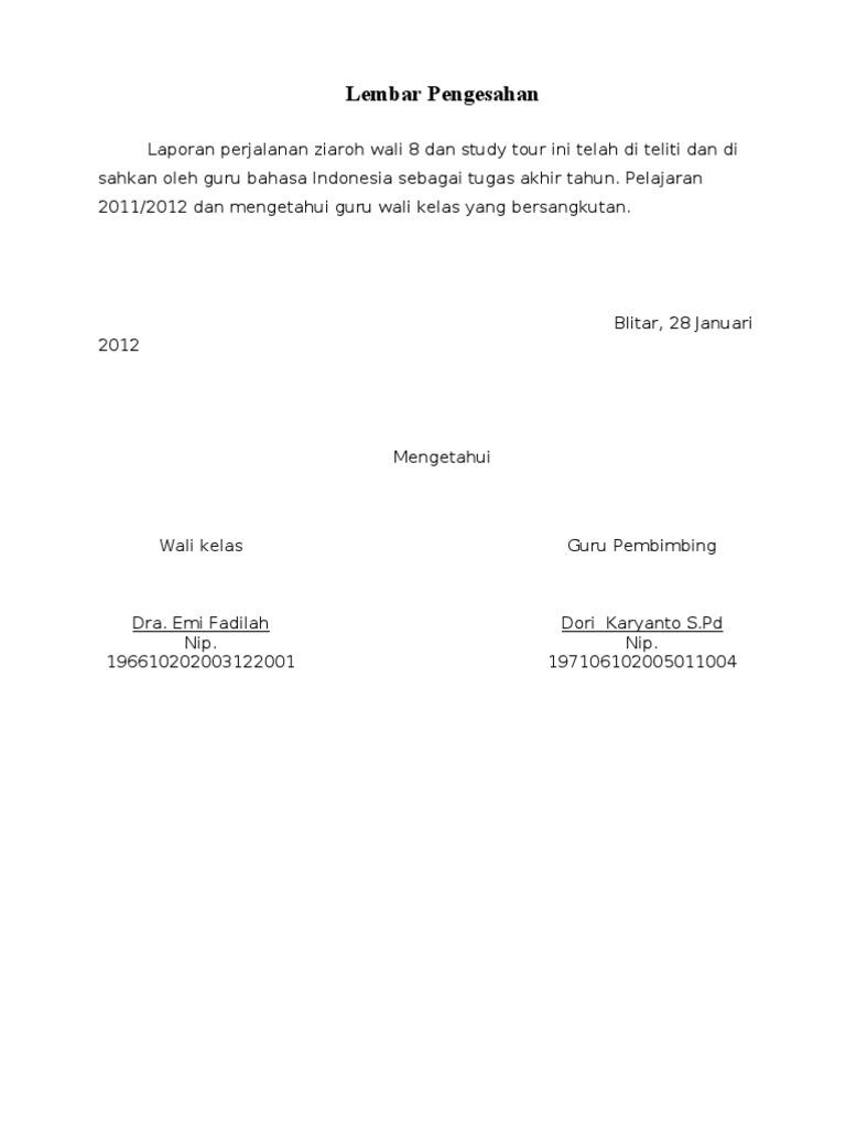 Best Contoh Lembar Pengesahan Karya Tulis Study Tour Image Collection