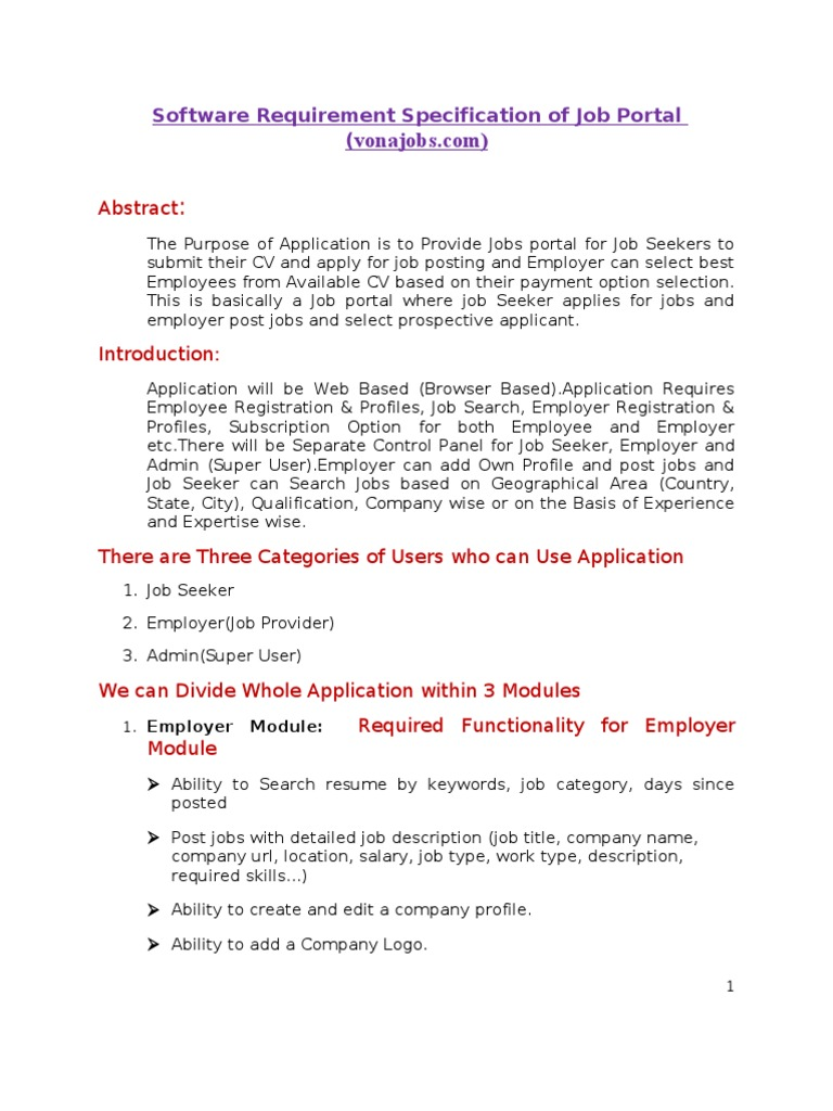 Software Requirement Specification of Job Portal-1 | Résumé | Employment