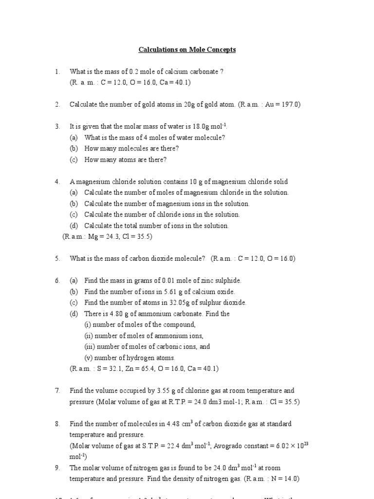 worksheet Molar Volume Worksheet mole calculation unit gases