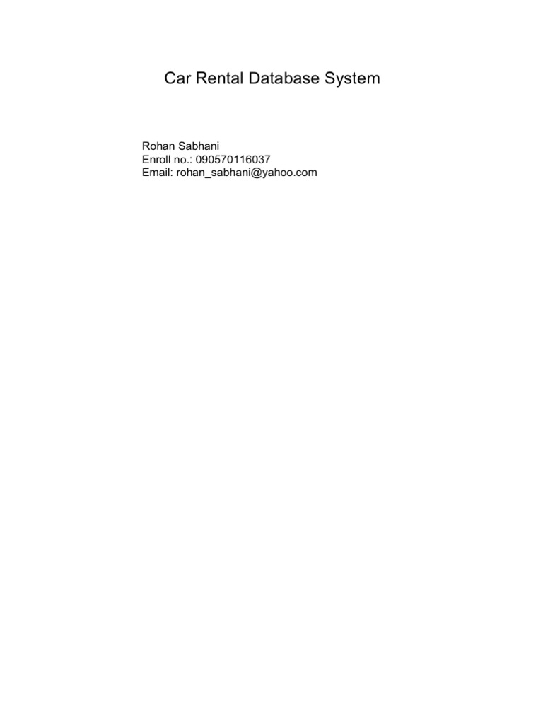 Car Rental System Project Proposal Car Rental – Auto Rental and Lease Form