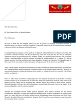 Letter to EU Foreign Ministers