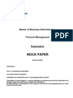 MBA Financial Management - MOCK Exam