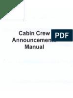 Cabin Crew Announcements Manual