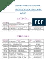 HORARIOS PARTIDOS 4-2