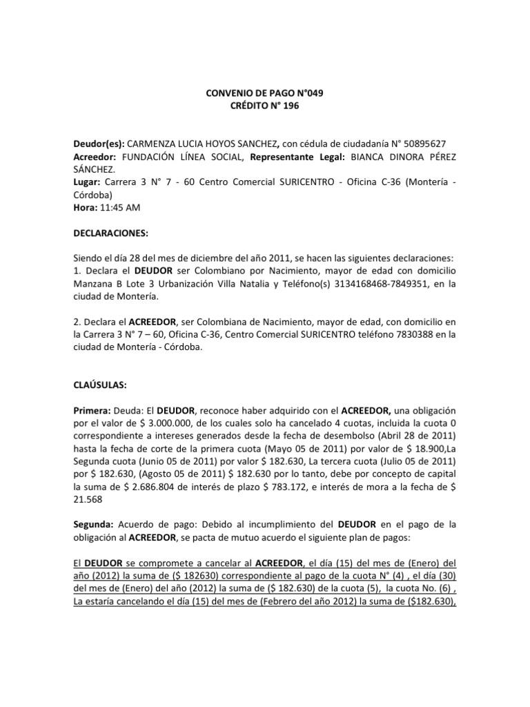Modelo convenio de pago 1 for Modelo acuerdo extrajudicial clausula suelo