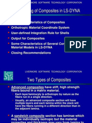 LS-DYNA Guidelines Composite Materials | Composite Material
