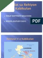 Pag-Uulat Sa Rehiyon v o Kabikulan