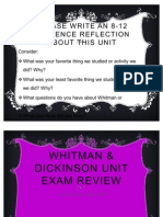 Whitman & Dickinson Unit Exam Review