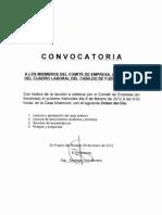 Convocatoria Comite Empresa 8 Febrero 2012
