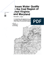 Stream Water Quality in the Coal Region of West Virginia and Maryland