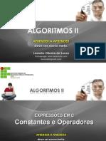 Aula 4 Expressões em linguagem C -Constantes e Operadores