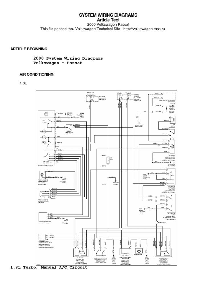 passat b5 wiring diagram  scribd
