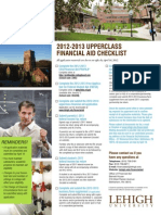 2012-13 Upperclass Financial Aid Checklist