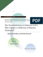 Decentralisation Led to Elite Captured or Reflection to Majority Indonesia Preference