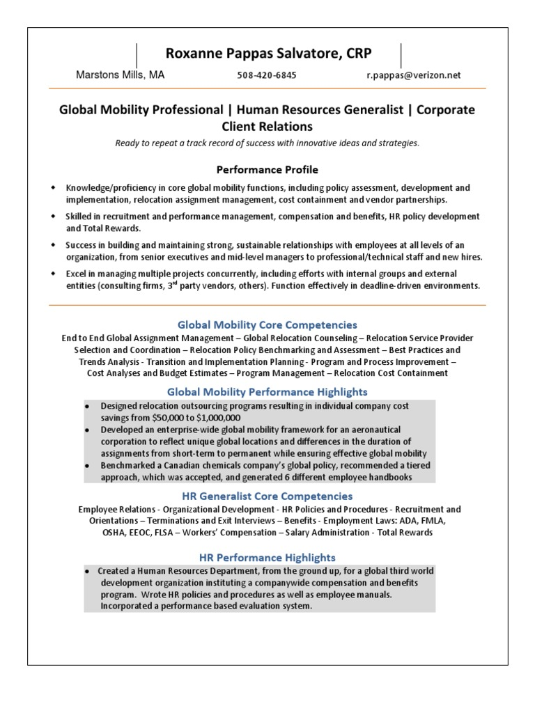 Global Mobility Specialist Resume Example certified customs ...