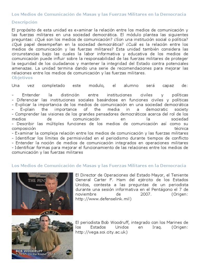 Los Medios de Comunicación de Masas y las Fuerzas Militares en la ...