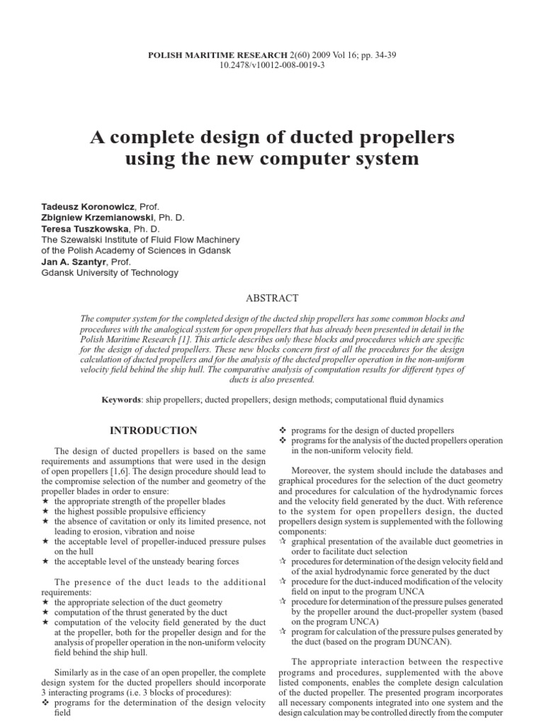A Complete Design of Ducted Propellers | Propeller