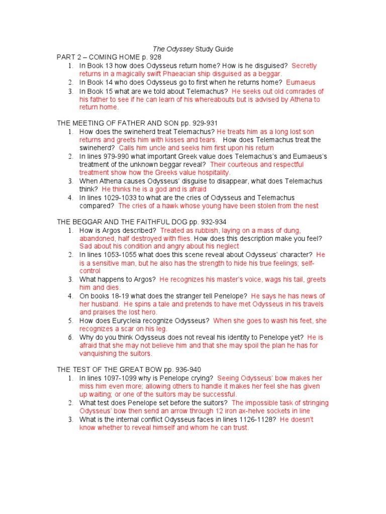 odyssey pt ii answer key odyssey odysseus rh fr scribd com odyssey study guide answer key google docs odyssey study guide answer key test