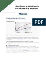 Propiedades físicas y químicas de los alcanos alquenos y alquinos
