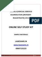 Kerala Munsiff Magistrate Exam 2012 Materials Solved Paper