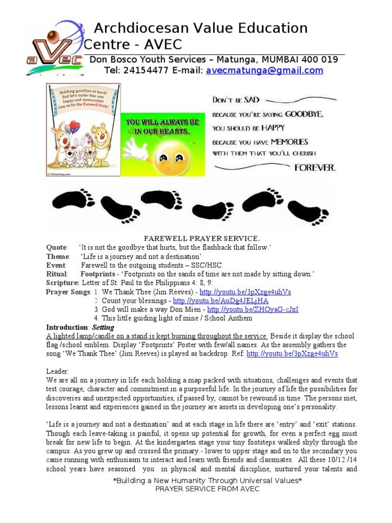 farewell prayer service 02 feb 13