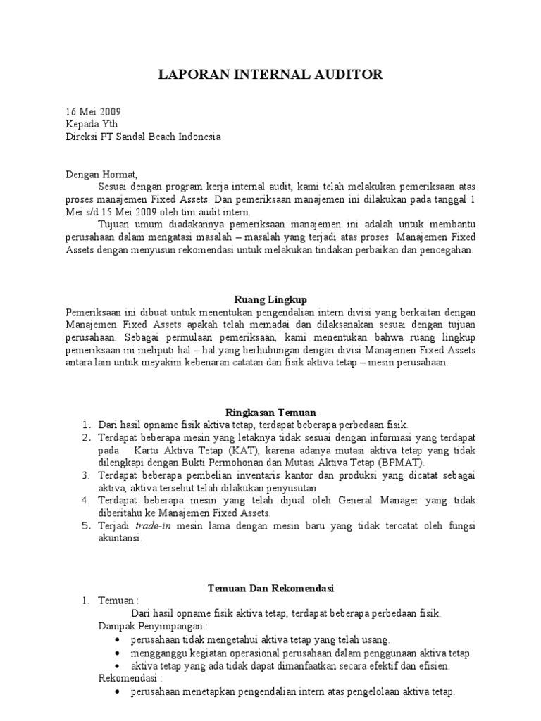 Contoh Laporan Audit Manajemen Perusahaan Jasa