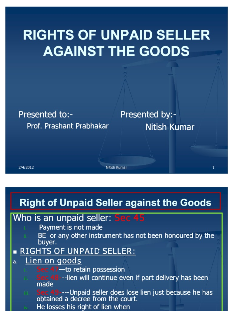 rights of unpaid seller against the buyer