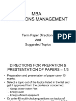 Paper Presentation Directione and Topics Topics -MBA General
