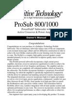 ProSub800 1000 Manual