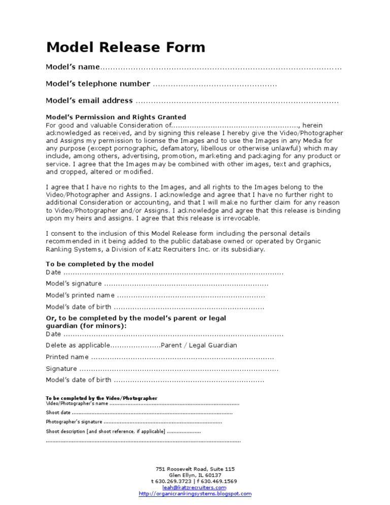 ORS Model Release Form   Social Institutions   Society