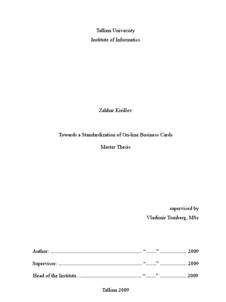 Master thesis course description