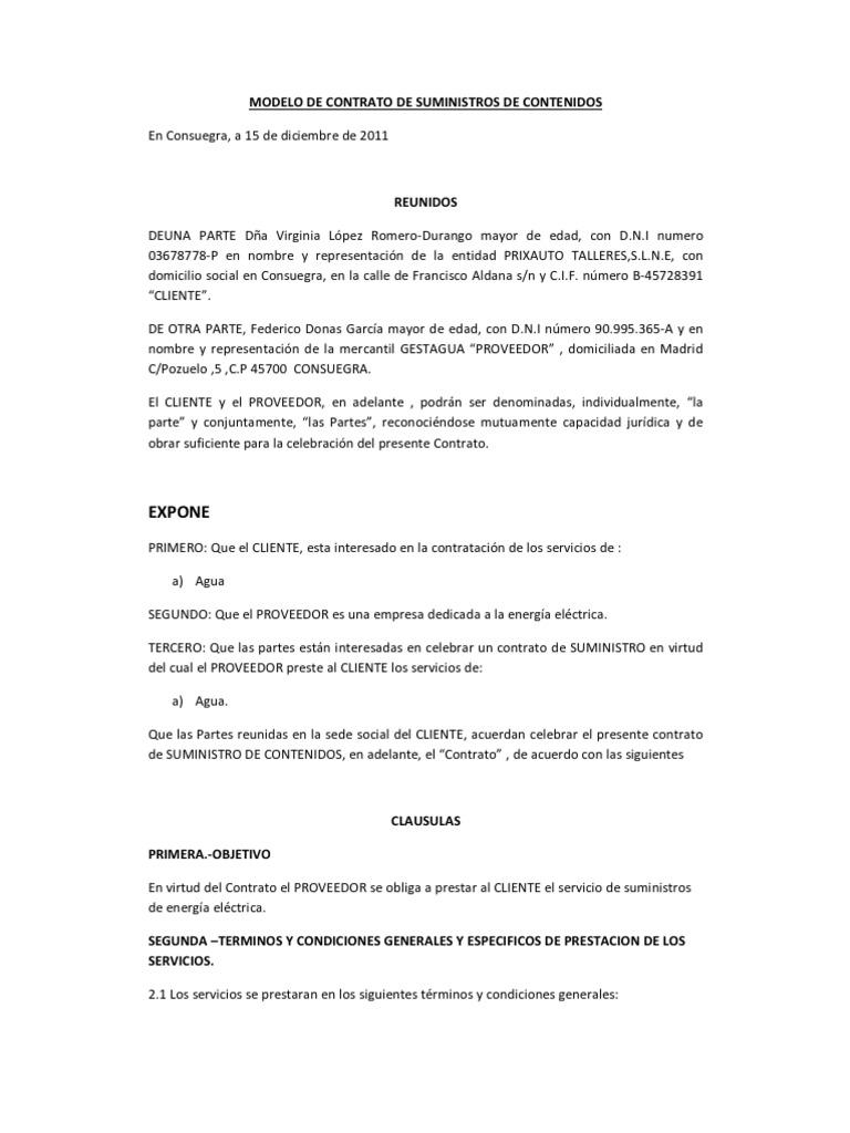 Modelo De Contrato De Suministros Agua